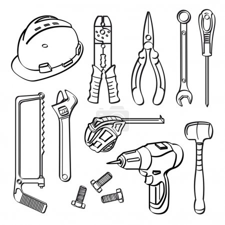 Illustration for A collection of different kinds of tools in sketch style - Royalty Free Image