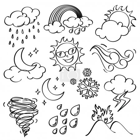 Illustration for Different kinds of weather icons in line art style - Royalty Free Image