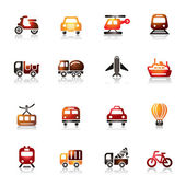 A collection of different kinds of transportation colorful icons