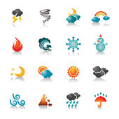 A collection of different kinds of weather colorful icons