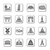 Famous Scenic Spots Doodle Icons
