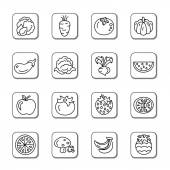 A collection of different kinds of fruit and vegetables doodle icons