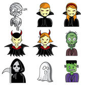 A collection of different kinds of halloween characters