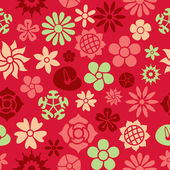 Flowers Icons in Seamless Background