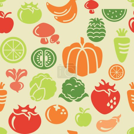 Food and Vegetable Icons in Seamless Background