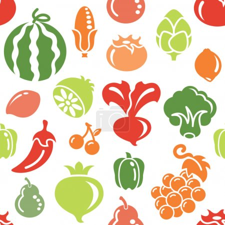 Fruit and Vegetable Icons in Seamless Background