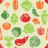 Different kinds of vegetable icons in seamless background