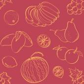 Different kinds of fruits in seamless background