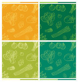 Different kinds of vegetables in seamless background with different color