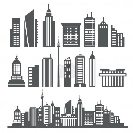 Illustration for A collection of different kind of building - Royalty Free Image