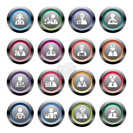 Illustration pour Une collection de différents types d'icônes d'occupation - image libre de droit