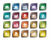 A collection of different kinds of food and drinks icons