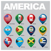 America countries  flags in pointer icons