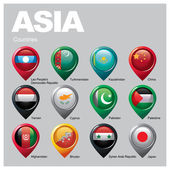 Asia countries flags in pointer icons