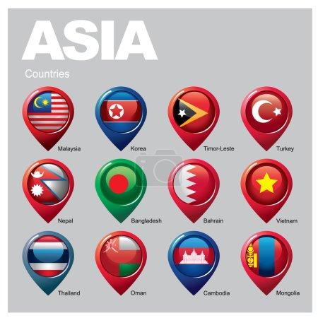 Illustration pour Pays d'Asie drapeaux en icônes pointeur - image libre de droit