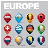 Europe countries flags in pointer icons
