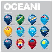 OCEANI countries flags in pointer icons
