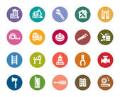A collection of different kinds of buildings and construction color icons