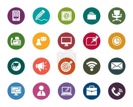 Illustration for A collection of different kinds of Business and Communication Color Icons - Royalty Free Image