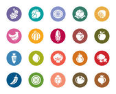 A collection of different kinds of Fruit and Vegetable Color Icons