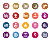 A collection of different kinds of logistics and transport color icons