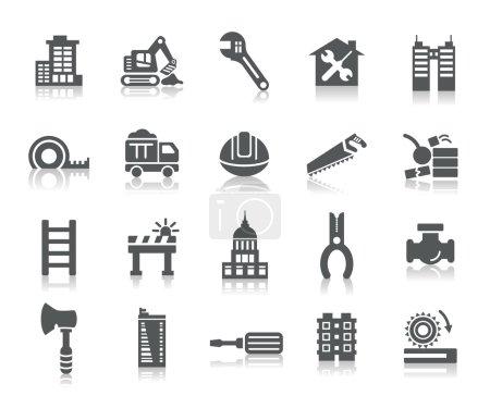 Illustration pour Une collection de différents types de bâtiments et d'icônes de construction . - image libre de droit