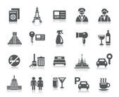A collection of different kinds of hotel and tourism icons