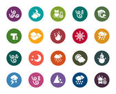 A collection of different kinds of weather color icons
