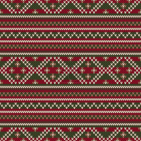 Traditional Fair Isle Style Seamless Knitted Pattern. Christmas  and New Year Background
