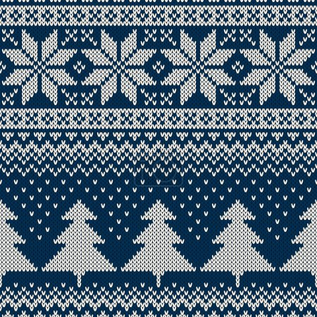 Winter Holiday Seamless Knitting Pattern. Ornament for Sweater Design