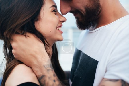 Photo for Beautiful couple close-angle pose for the camera - Royalty Free Image