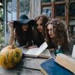 Постер, плакат: Three vintage witches perform magic ritual