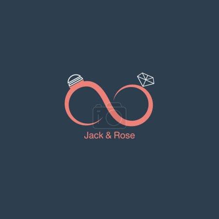 Wedding logo, couple of rings icon