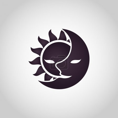 Illustration for Sun and Moon logo. Abstract vector illustration - Royalty Free Image