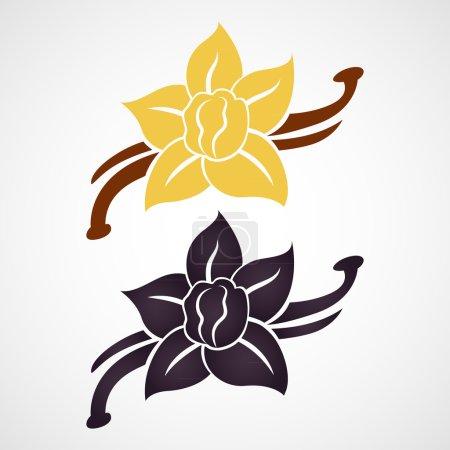 Illustration pour Logo vectoriel vanille fleur et gousses de vanille - image libre de droit