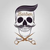retro barber shop logo Skull logo