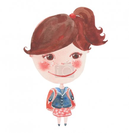 Photo for Small schoolgirl with a backpack, watercolor illustration on a white background - Royalty Free Image