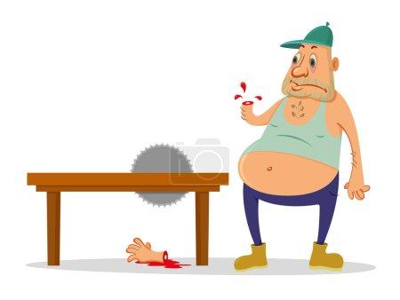 Illustration for Cartoon man injured circular saw, drops of blood - Royalty Free Image