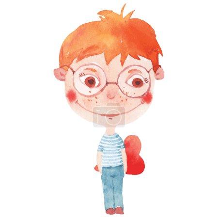 Illustration pour Aquarelle garçon souriant avec coeur rouge - image libre de droit