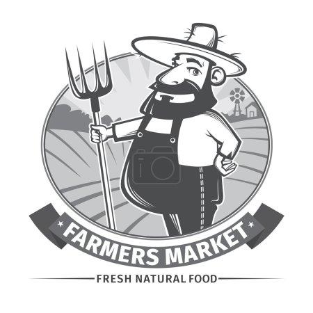 Illustration pour Étiquette vectorielle ou logo avec agriculteur sympathique et sa fourche - image libre de droit