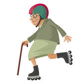 Elderly woman on roller skates vector cartoon