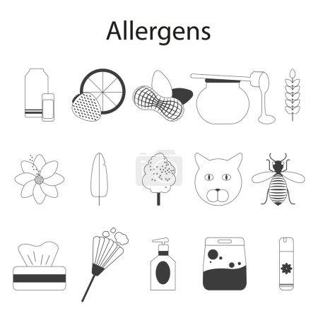 Allergens set. Vector illustration. Thin line