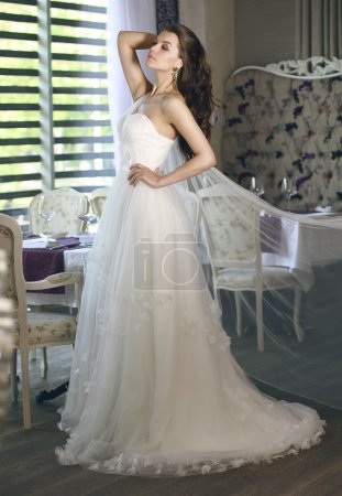 Beautiful young bride with long brown wavy hair in a lush white wedding dress of tulle, embroidered with beads corset, bow tied at the waist photographed in the interior of the restaurant
