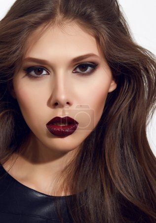Beautiful sexy woman color makeup bordo lips dark eyes cosmetics