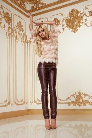 Beautiful sexy woman blond stylish fashion clothing