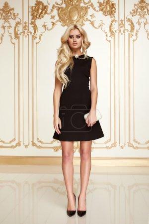 Sexy beauty business woman in fashion dress perfect slim body