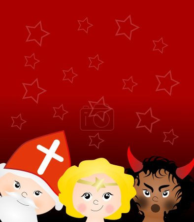 Photo for Red background with heads of Saint Nicholas, angel and devil - Royalty Free Image