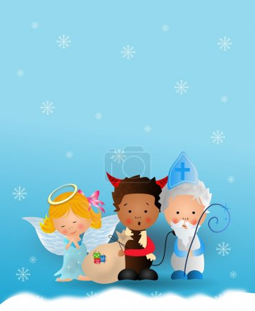 Photo for Cute illustration of Saint Nicholas, angel and devil on blue snowy background - Royalty Free Image