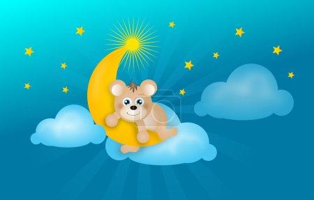Photo pour Mignonne illustration de petit ours en peluche couché sur la lune dorée avec des étoiles et des nuages en arrière-plan - image libre de droit