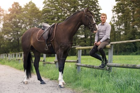 Man and horse at a farm